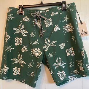 NWT Katin Board Shorts Green Size 34 Surf